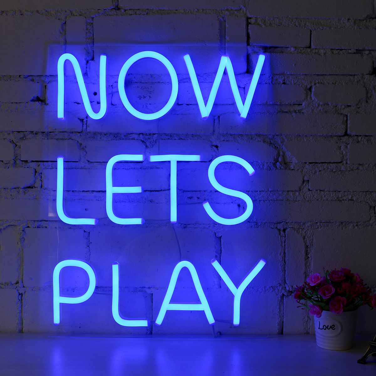 NOW LETS PLAY LED Neon Sign Tube Light Visual Artwork Bar Pub Club Wall Hanging Bar Party Decoration Lighting image