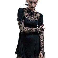 Devil Модные женские готические стимпанк модные сексуальные футболки с длинным рукавом тоньше хлопок Emborideried кружевной топ