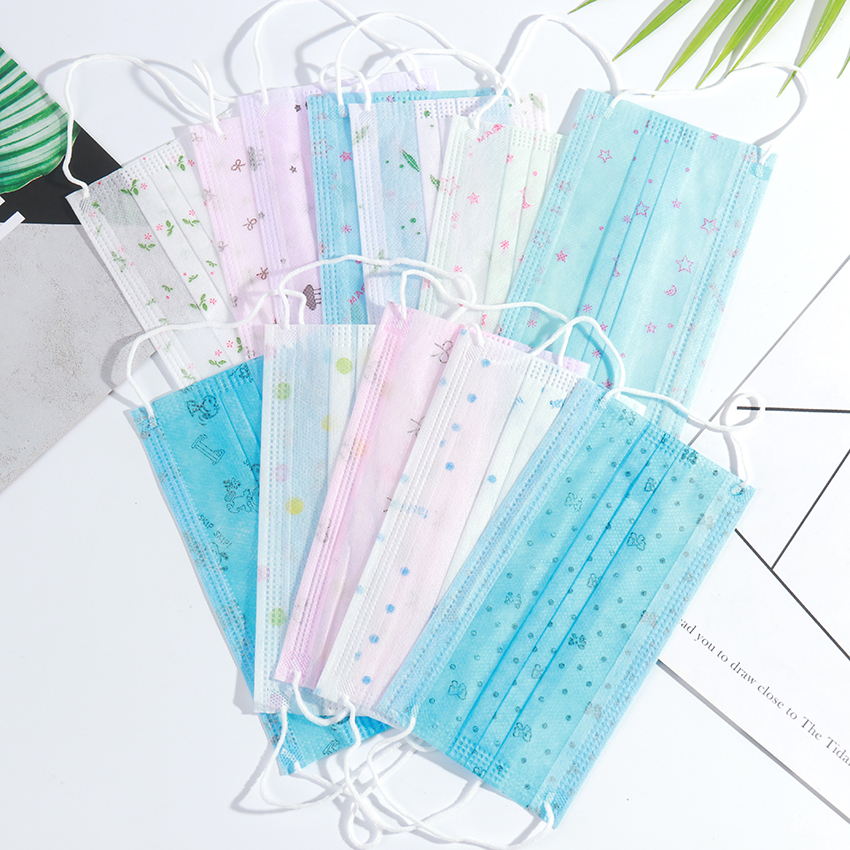 10PCS 3 Layers Dustproof Facial Protective Cover Masks Anti-Dust Anti-Fog Disposable Printing Earloop Face Mouth Masks