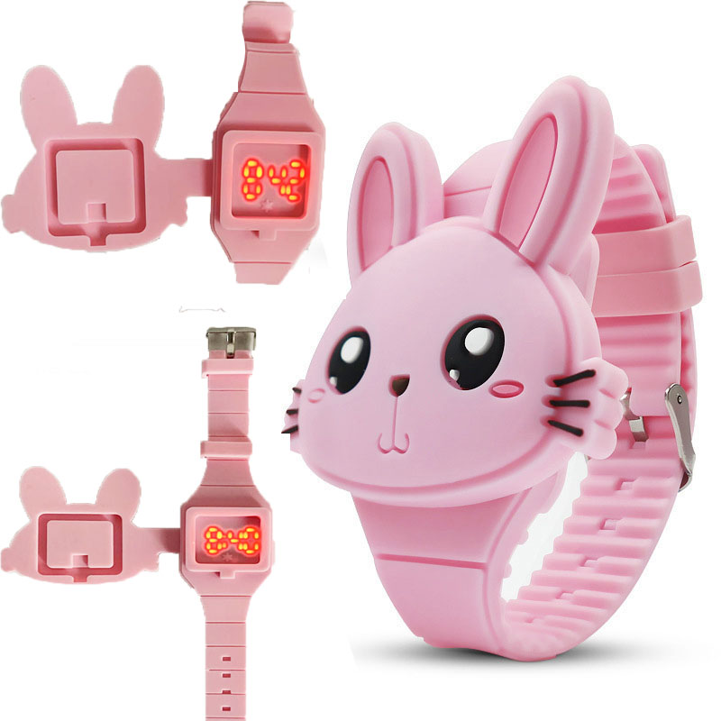 Cartoon Animal Design LED Silicone Wrist Band Watch Children\'s Digital Watches Toys Gifts