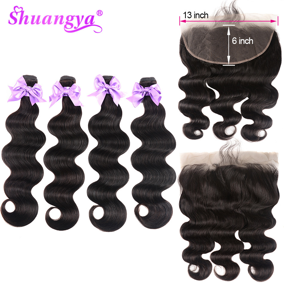 Brazilian Body Wave 13x6 Lace Frontal Closure With Bundles Remy Human Hair 3/4 Bundles With Frontal Natural Color Shuangya Hair