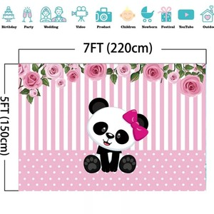 Image 2 - Laeacco Birthday Photography Backdrops Pink White Stripes Flowers Panda Bamboos Photographic Backgrounds Baby Shower Photocall