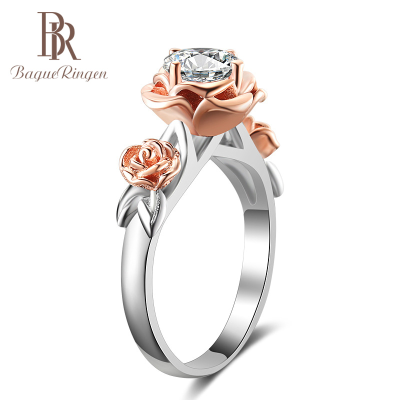 Bague Ringen 925 Siver Finger Ring With AAA Roud Zircon Flower Shape Jewelry For Women Anniversary Gift Party Weddings Wholesale