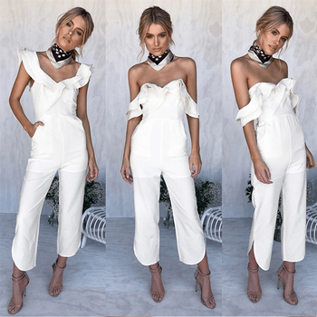 Summer Womens Sexy Spaghetti wrapped chest strapless halter jumpsuit Strap Wide Legs Female Solid Colors Bodysuit Trouser