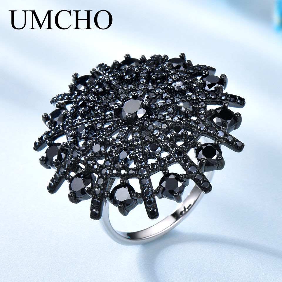 UMCHO Gemstone Natural Black Spinel Ring Female Solid 925 