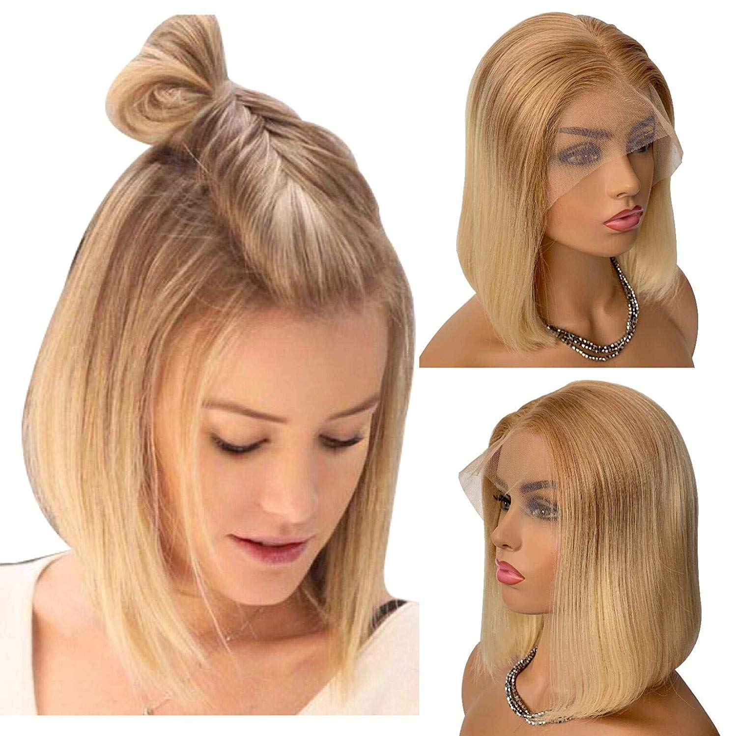 Blonde Wigs For White Women Lace Front Human Hair Wig Glueless Golden Brown Omber Blonde 13x4 Pre Plucked #T12/613 150% Density