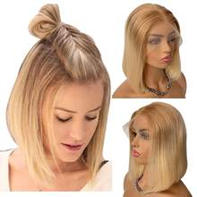 Blonde Wigs for White Women Lace Front Human Hair Wig Glueless Golden Brown Omber Blonde 13x4 Pre Plucked #T12/613 150% Density(China)