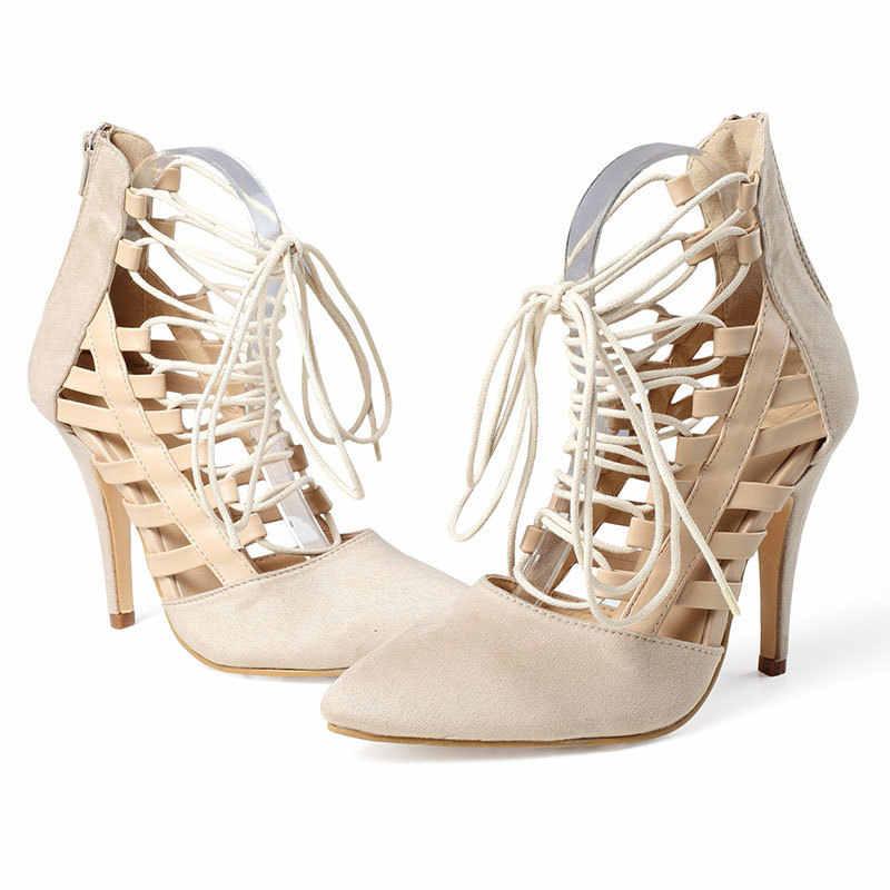 2019 yeni kare yüksek topuklu Lace Up Peep Toe Hollow platform ayakkabılar kadın rahat yaz çizmeler büyük boy 35-42