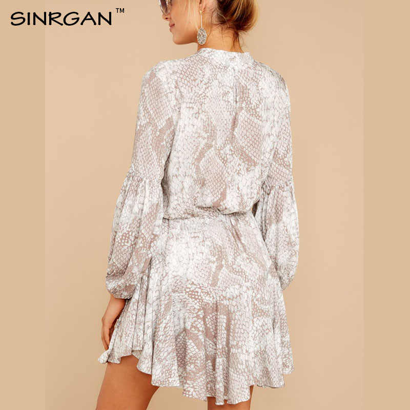 SINRGAN femmes ceinture florale chemise robe plage dames en vrac courte robe coréenne automne 2019 taille Steetwear
