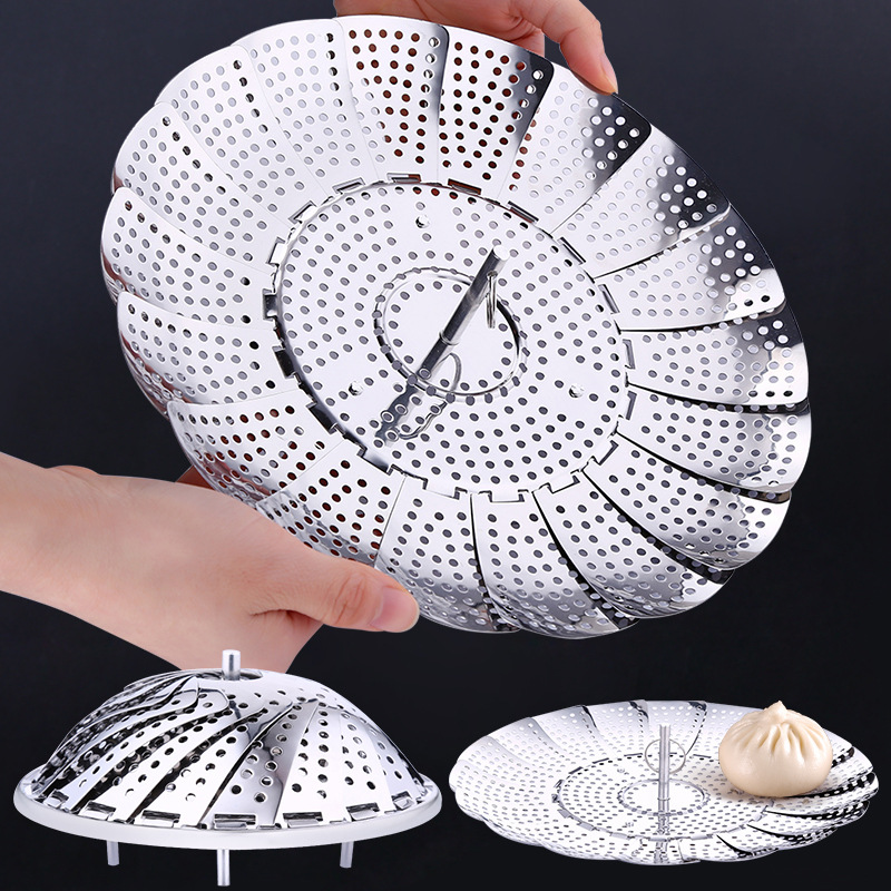 Stainless Folding Mesh Steamer 1PCS Food Vegetable Expandable Dish Basket Steamer Strainer Cooker Basket Kitchen Tool