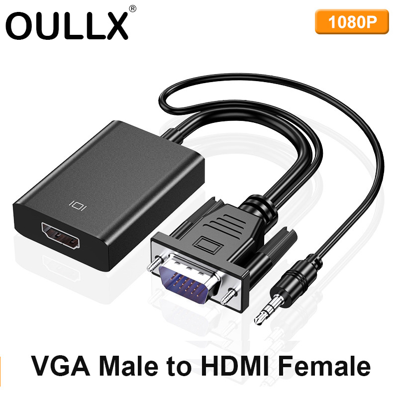 OULLX VGA Male To HDMI Female Adapter For PC Computer Laptop Game Player HDMI Cable Support Full HD 1080P HDTV Projector