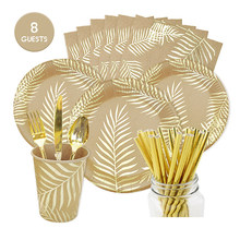 Bronzing Palm Leaf Disposable Tableware Kraft Paper Plate /Cup Happy Birthday Party Decor Adults Wedding Hawaii Garden Party