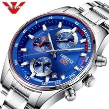 NIBOSI niebieski zegarek mężczyźni moda Sport zegar kwarcowy męskie zegarki Top marka luksusowy chronograf wodoodporny zegarek Relogio Masculino