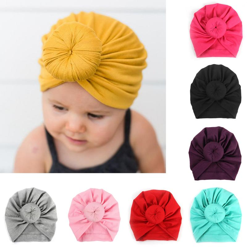 Baby Turban Hat With Bow Children Hat Cotton Blend Newborn Unicorn Beanie Top Knot Kids Photo Props Cute Kids Headwear Gifts