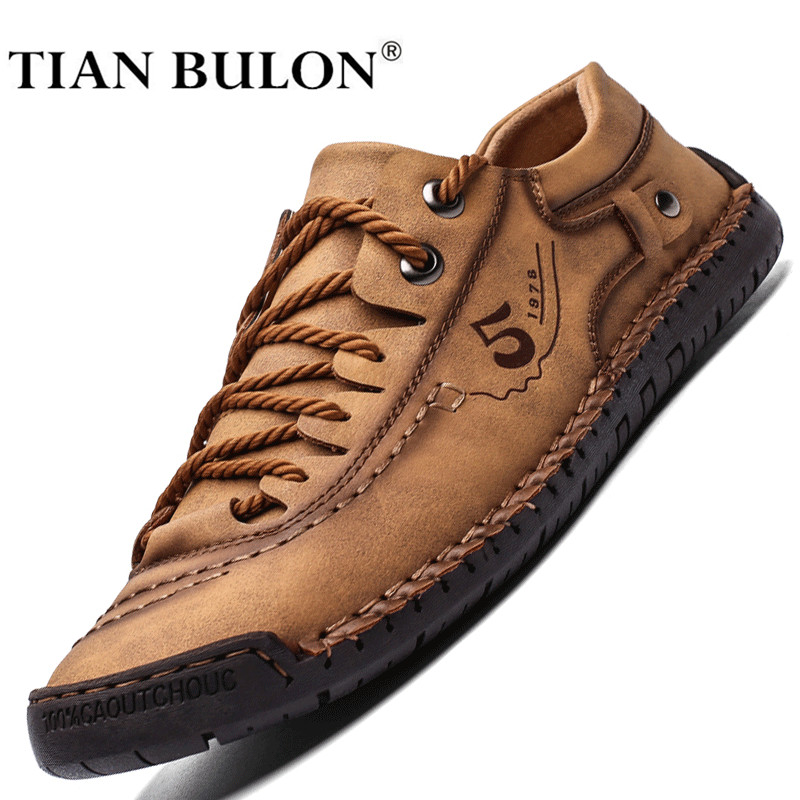 Men Casual Shoes Leather Fashion Men Sneakers Handmade Breathable Man Shoes Lightweight Mens Loafers Moccasins Plus Size 38-48