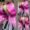 Ombre 613 sarışın pembe vücut dalga Remy peruk ön koparıp HD şeffaf İnsan saç peruk siyah kadınlar için brezilyalı tam kapatma 250%