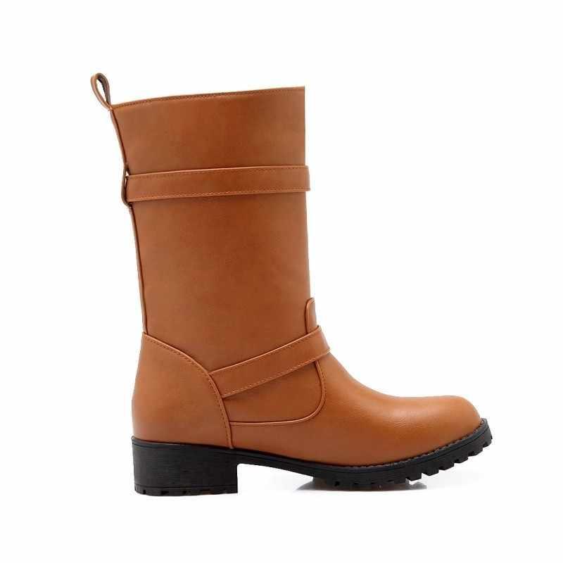 Winter Fleece Futter Warme Damen Stiefel Schnalle Design Pu Leder Reiten Schuhe Runde Kappe Gleitschutz Weibliche Schuhe Botas Mujer