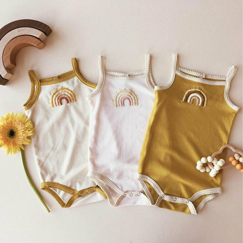 Infant Baby Girl Kid Rainbow Sling Jumpsuit Bodysuits Sleeveless Summer Casual Baby Bodysuits Outfit Clothes Tops
