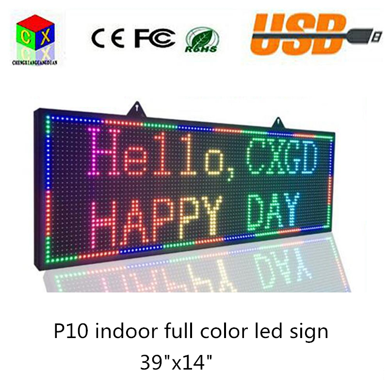 Indoor <font><b>P10</b></font> <font><b>SMD</b></font> <font><b>LED</b></font> signs/ Support computer USB programmablefor full color <font><b>led</b></font> display Store Display Messages Free Design Ads image