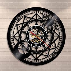 Jupiter zegar ścienny winylowa dekoracja do domu słońce i księżyc w stylu Retro z gwiazdą płyta winylowa zegar cosmograficzny zegar astrologia prezenty