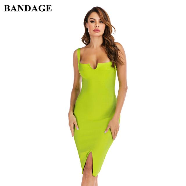 BANDAGE Autumn New Arrival Sexy Neon Green Bandage Dresses Rayon Women Clothing Spaghetti Strap Christmas Birthday Party Dress