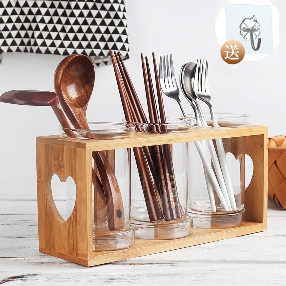 A1 Creative Kitchen Supplies Glass Chopsticks Cage Wall Drain Chopsticks Frame Wood Kitchen Cutlery Storage Box Wx8151819