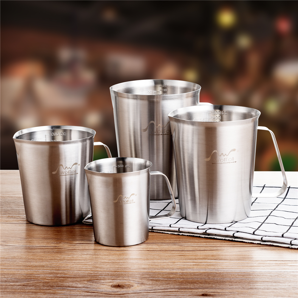 Stainless Steel 304 Measuring Cup With Scale 500/1000/2000ml Large Capacity Kitchen Coffee Tea Milk Frothing Jug Pitcher Beaker