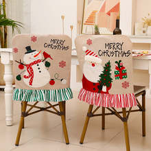2021 New Christmas Chair Covers Printed Elastic Stretch Cotton Chair Cover Table Chair Back Cover Christmas Decorations