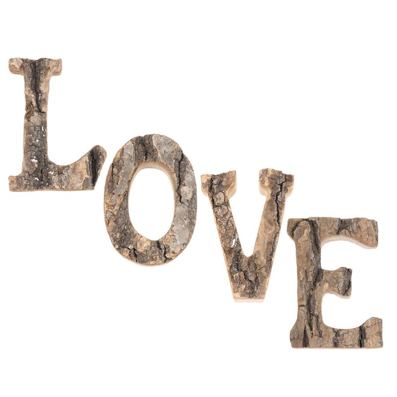 WINOMO 1Pc Vintage English Letter wooden sign Natural Tree Bark Design Ornament Wooden Decoration DIY Crafts Ornaments