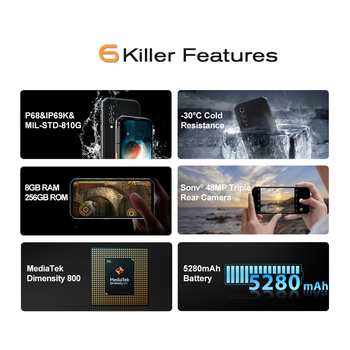 Blackview BL6000 Pro IP68 Waterproof 8GB+256GB 5G Smartphone 48MP Triple Camera 6.36'' Android 10.0 Global Bands 5G Mobile Phone 2