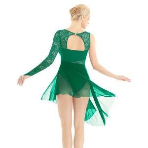 Image 4 - Feminino ballet collant vestido único com dedo laço corpete lírico moderno dança wear femme adulto assimétrico ginástica traje