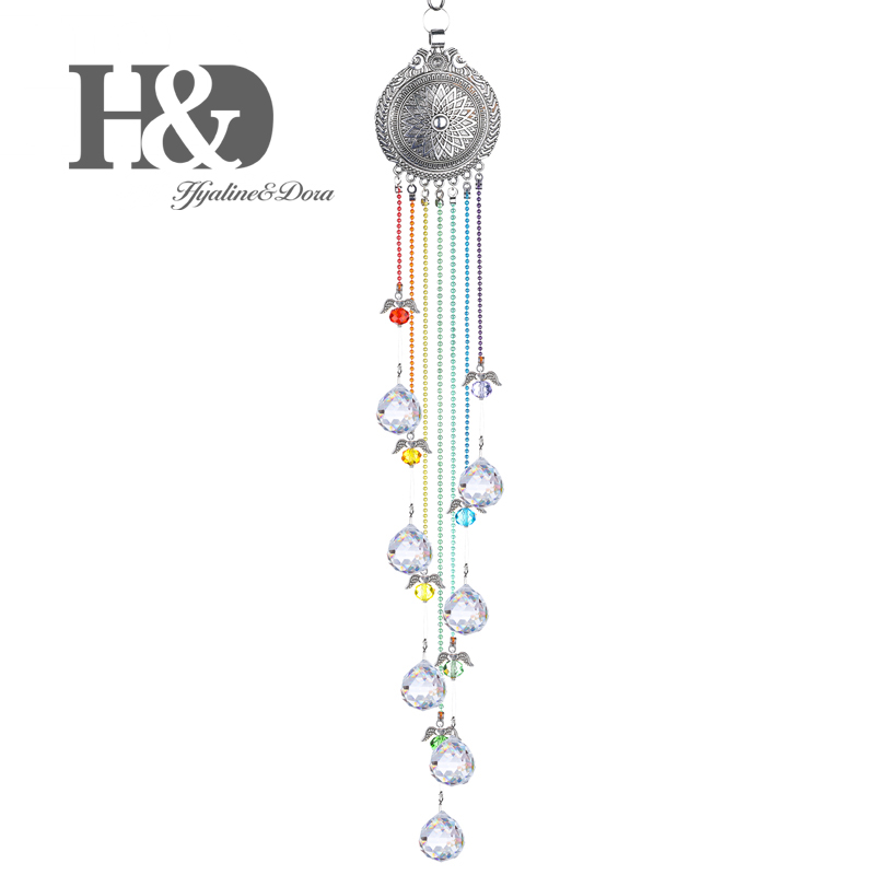 H&D Hanging Suncatcher Pendants Crystal 20mm Ball Prisms Angel Lotus Charms Sun Catcher Rainbow Maker Home Window Wedding Decor