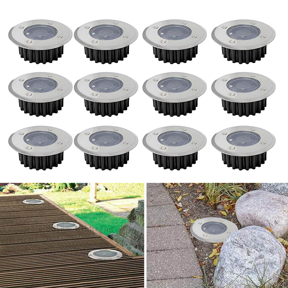 Solar Powered Ground Light Waterproof Garden Stainless Steel LED Lights Buried Solar Lamp For Home Yard Outdoor Garden Lawn