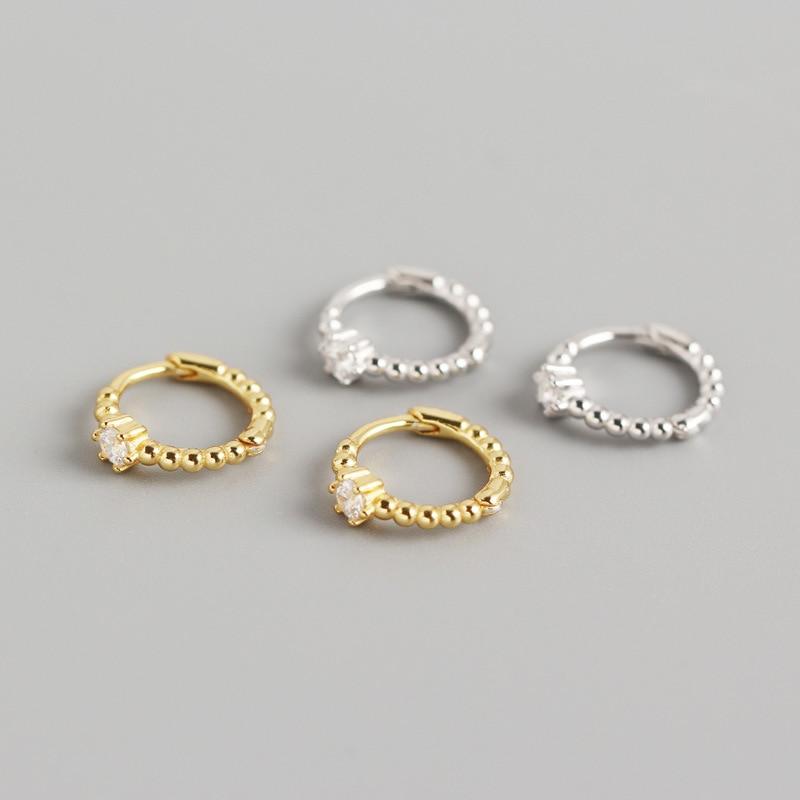 Cartilage Hoop Earrings Genuine 925 Sterling Silver Dainty Bead and CZ Small Hoop Earrings Delicate Jewelry for Women