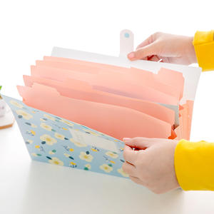 Coloffice A4 Document File-Folder Filing School Kawaii Mezzanine-File Floral Multi-Function