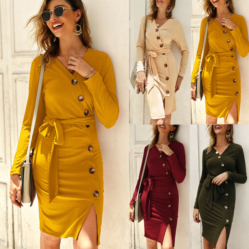 New Summer Women's Dress Solid Button V-neck Long Sleeve Slim Skinny Bodycon Ladies Autumn Knitted Knee Length Dress