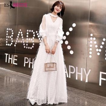 White Simple Evening Dresses Long ES30376 Women Elegant Full Sleeve Formal Party Arab Evening Gowns Vestido De Noche Con Cristal