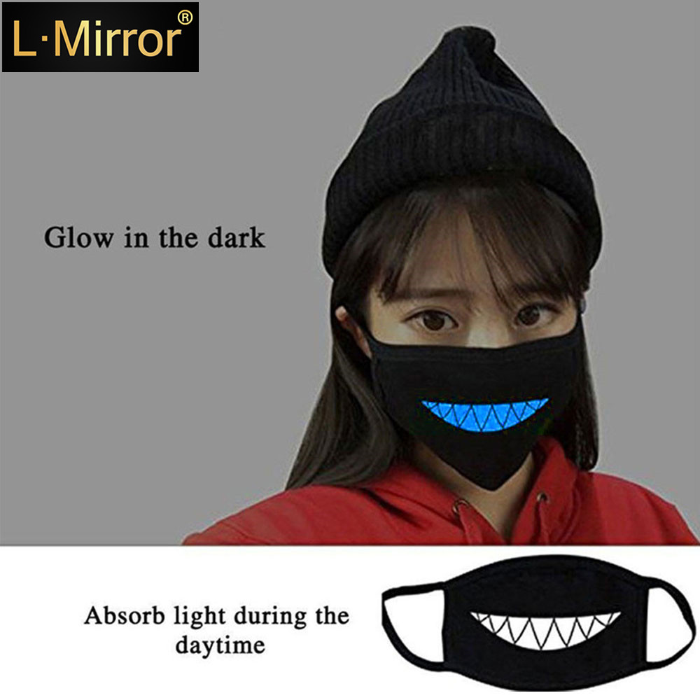 L.Mirror 1Pcs Luminous Cotton Unisex Anti-dust Black Mouth Mask Cover With Glowing Blue Vampire Teeth Print For Men Women Boys