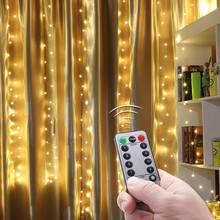 Christmas Lights Outdoor Led Star Light Remote Control 8 Function Usb Decorative Copper Wire Curtain String Lights Decoration