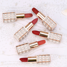 Makeup Matte lipstick Beauty Pearl Starry Diamond  Long-lasting Waterproof Nude Red Velvet Lipstick Lip Batom Easy To Wear