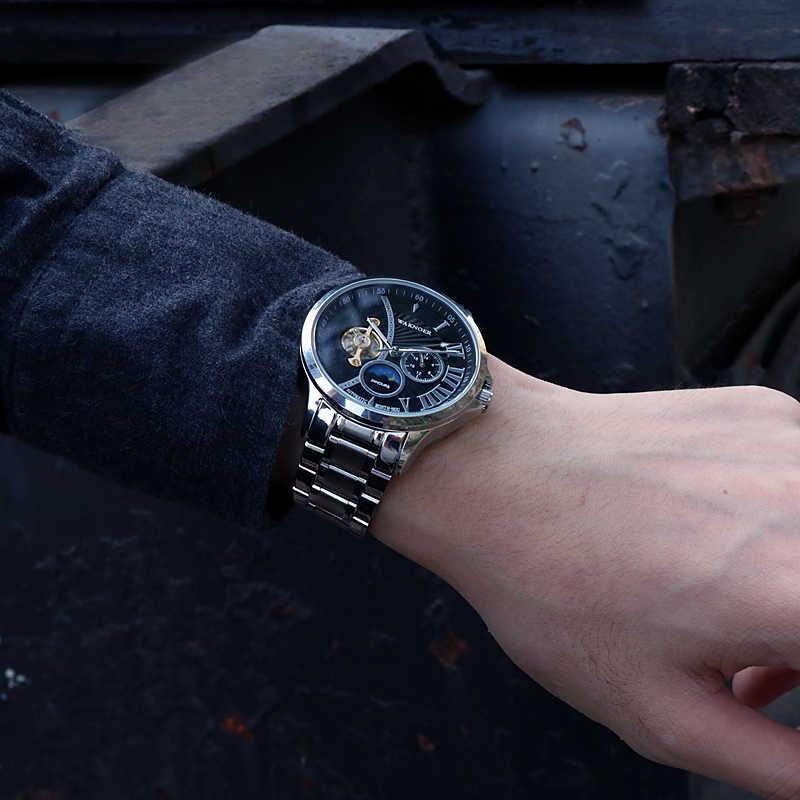 WAKNOER Automatico Vigilanza Degli Uomini di Lusso In Acciaio Impermeabile Moon Phase Uomini Steampunk Orologio Meccanico Tourbillon Reloj Lujo Hombre