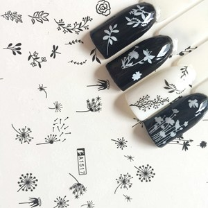 Image 5 - 12 tipos de folha branca preta arte do prego adesivo slider carta russa sexy menina prego adesivo conjunto decoração marca dwaterágua tatuagem MY1513 1524