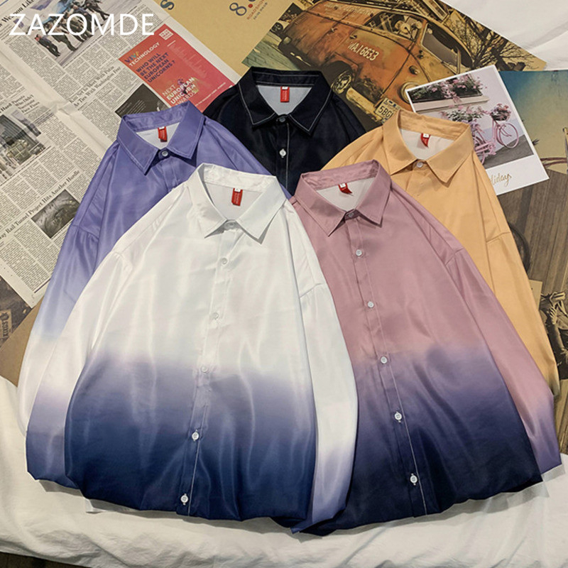 ZAZOMDE <font><b>Men</b></font> <font><b>Shirts</b></font> Long Sleeve Gradient Color Large Size Loose <font><b>Oversize</b></font> <font><b>Mens</b></font> <font><b>Korean</b></font> <font><b>Style</b></font> Unisex Harajuku <font><b>Shirts</b></font> chemise homme image