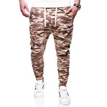 Casual Pants for Men Trousers Sports Fitness Camouflage Sweatpants Joggers & Sweats Cotton Tether belt New