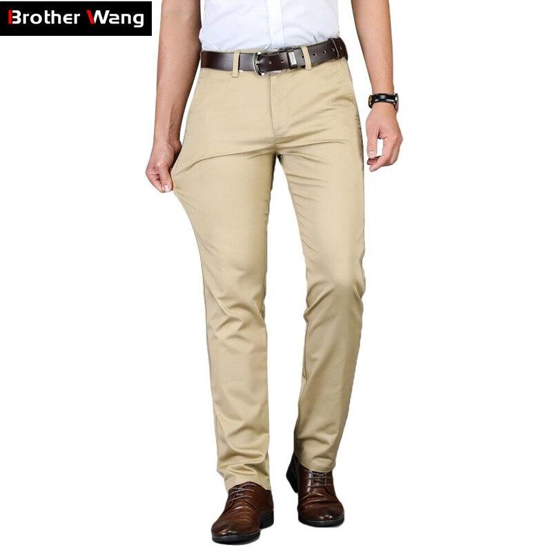 Pantalones Casuales De Color Caqui Para Hombre 5 Colores Color Solido Clasico Moda De Negocios Elasticos Ajustados De Algodon Marca Novedad De 2020 Pantalones Informales Aliexpress