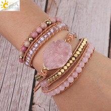 Csja Natuursteen Armband Roze Quartz Lederen Wrap Armbanden Voor Vrouwen Rose Gems Kristal Kralen Bohemen Sieraden 5 Strand S308