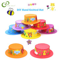 3pcs Creative EVA Foam Paper Weaving Hat Flowers Stars Patterns Kindergarten Art kids DIY Craft Toys Party Decorations Gifts ZXH