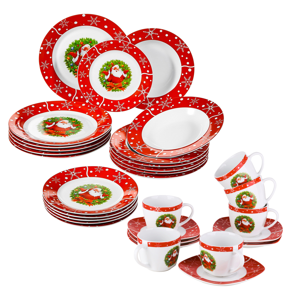 VEWEET 30-Piece Christmas Gift Porcelain Dinnerware Set with 6*Dessert Plate,Soup Plate,Dinner Plate,Cups and Saucers Set