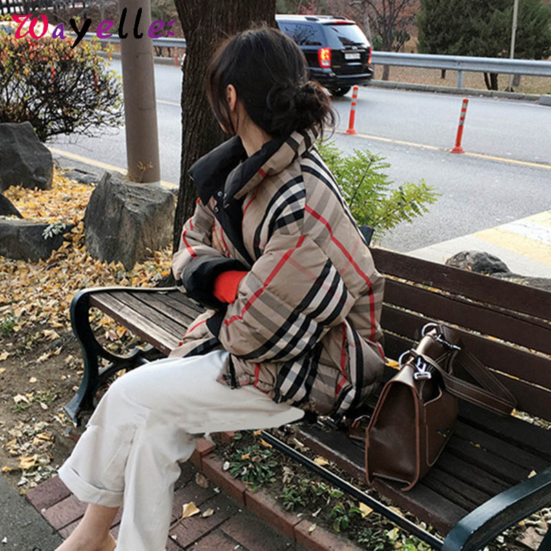 Women   Down   Jacket on Both Sides 2019 Plaid Solid Chic Oversize White Duck   Down     Coat   Warm Thick   Coats   Korean Fashion Clothing
