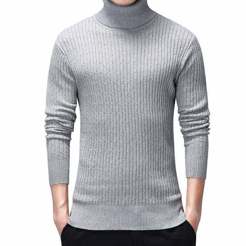 Czarne męskie swetry i sweter bawełna jesień golf mężczyźni wąskie swetry odzież obcisła Casual z długim rękawem boże narodzenie tkaniny 3xl